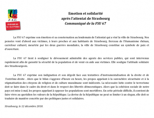 Communiqué de la FSU 67 suite à l'attentat de Strasbourg